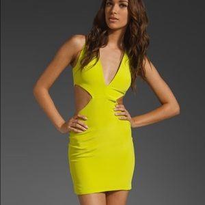 Naven Vixen dress w/ short skirt in Chartreuse